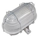 Průmyslové/sklepní oválné svítidlo, drátěným koš, 60W šedá