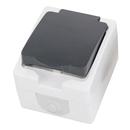 Zásuvka 1-násobná ČSN,  šedá/antracit IP54, base2